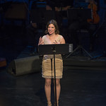 Kimberly Senior introduces a scene at Writers Theatre's Grand Opening Gala on February 8, 2016. Photo by Michael Brosilow.