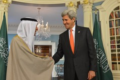 Secretary Kerry Shakes Hands With Saudi Foreign Minister Adel al-Jubeir