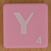 Scrabble white letter on pink Y