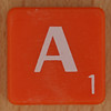 Scrabble white letter on orange A