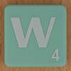 Scrabble white letter on pale green W