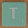 Scrabble white letter on pale green T