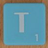 Scrabble white letter on pale blue T