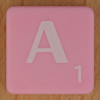Scrabble white letter on pink A