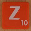Scrabble white letter on orange Z