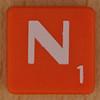 Scrabble white letter on orange N