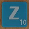 Scrabble white letter on blue Z