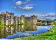 Caerphilly Castle photo by flash of light