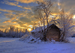 Old barn at sunset photo by Henri Bonell