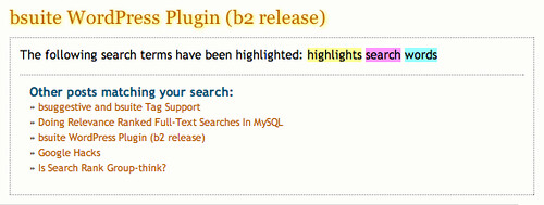 bsuite features: search word highlighting and suggestions.