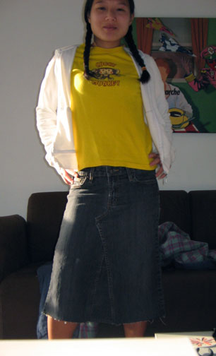 Converted jeans to skirt