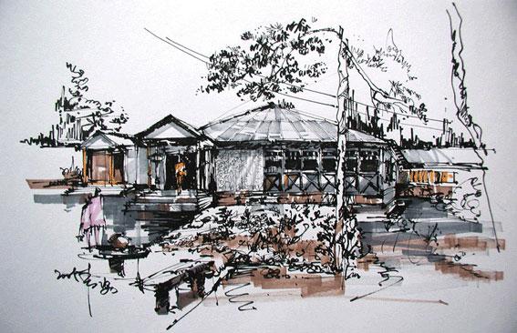 精品手绘建筑欣赏;;;   马克笔建筑表现; 手绘效果