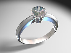 White gold traditional 6-claw sit diamond ring