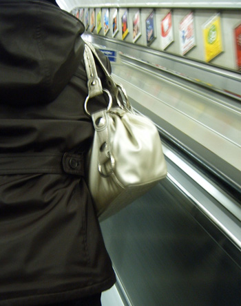 Metallic Bag on Escalator