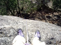 Shoe shot from anchor ledge at top of False Impressions