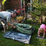 Helping Dad unroll the new tent<br/>15 Apr 2007