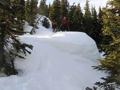 K and Rick heading down ridge