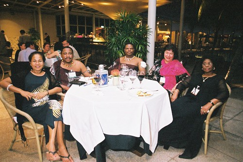 Delegates from Palau, Swaziland, New Zealand and South Africa  relax before the start of the second World Summit on Arts & Culture, Singapore, November 2003