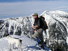 Geo Tom and Jasper at summit of Arrowhead - Rock Mtn. behind