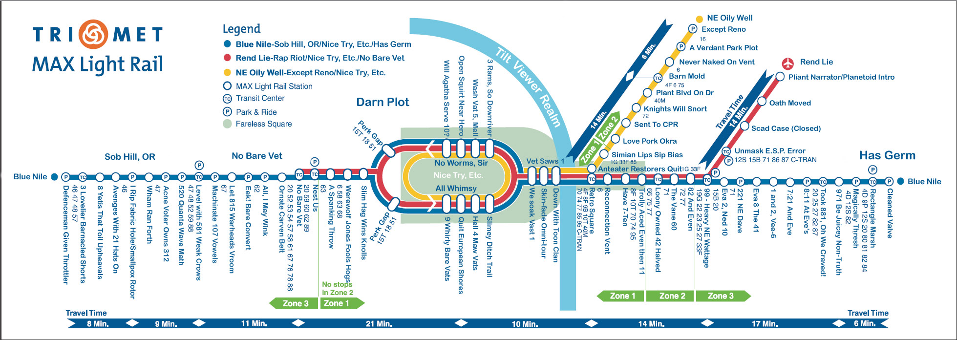 Portland MAX Map Anagrammed