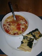 Minestrone & Spinach Rosemary Focaccio
