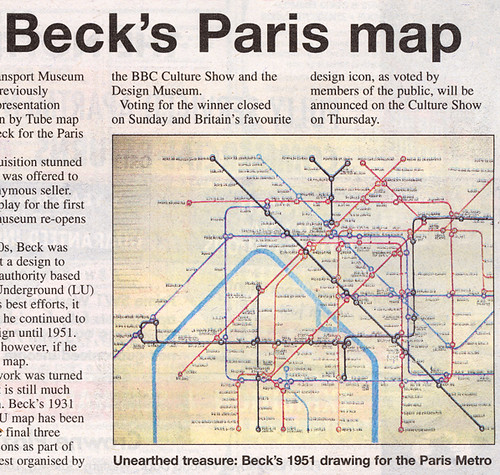 Harry Beck's Paris Map in Metro newspaper