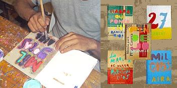 Livros feitos com papel e papelão reciclados