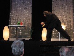 Ricky Jay attacking watermelon with deadly throwing playing cards