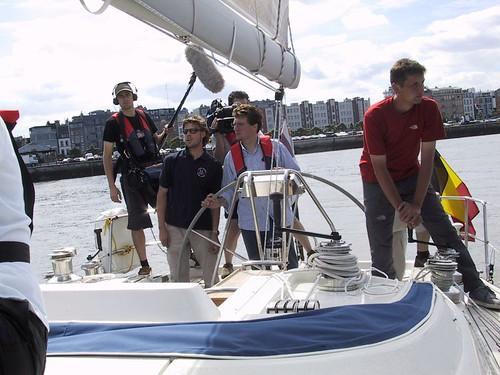op een bootje op de Schelde