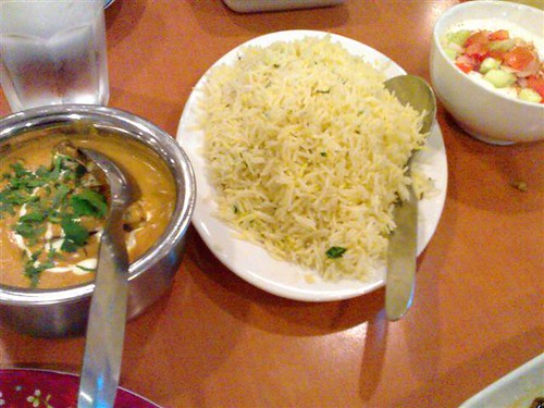 From left: Baigan Korma, Saffron Flavored Rice, and Raita