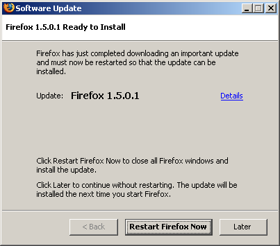Firefox 1.5.0.1 Ready to Install