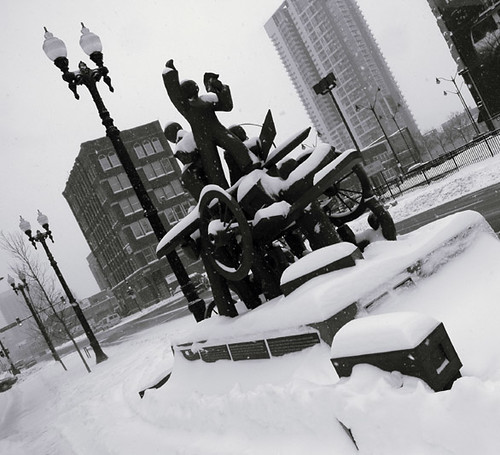 Haymarket Memorial in snow