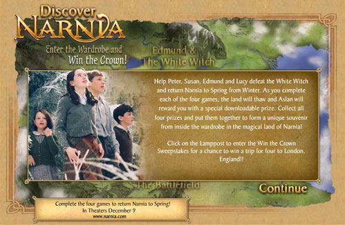 ipub narnia disney mini site
