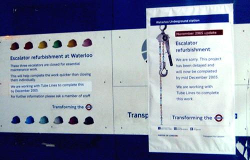 Waterloo Escalator Repairs delayed