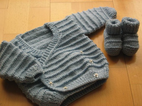 Adrià's cardigan and bootees.