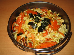 Carrot with scrambled egg.