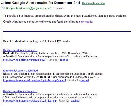GoogleAlert en el correo
