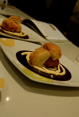 deep fried peaches stuffed with mascarpone