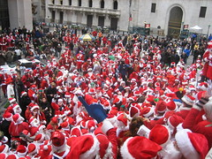 Couple Hundred Santas on Wall St