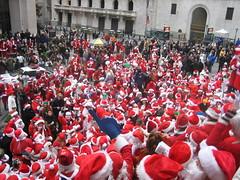 Couple Hundred Santas on Wall St