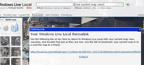 Permalink option at Windows Live Local