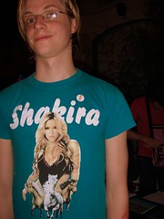 jasper future [art brut] loves his shakira t-shirt.