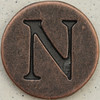 Copper Uppercase Letter N