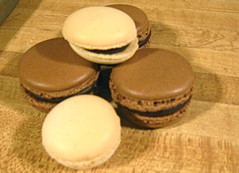 chocolate and plain macarons