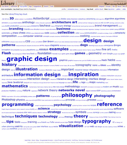 LibraryThing: See-ming Lee: Tag Cloud / 2007-11-27 / SML Screenshots (by See-ming Lee 李思明 SML)