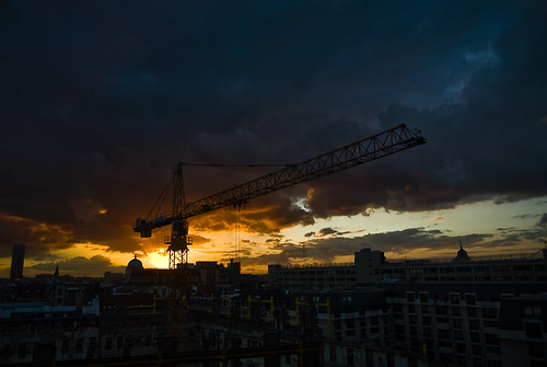 Zonsondergang aan de Brouckère