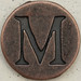Copper Uppercase Letter M