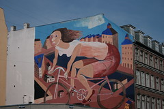 bike, woman, wallpainting (by isbye)