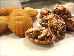 madelines and apple almond-nougat tarts