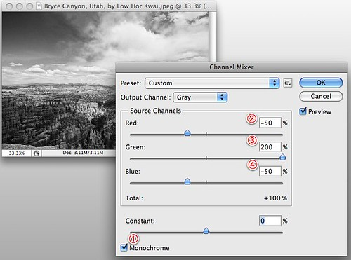 Photoshop tutorial for infrared conversion -- enter Channel Mixer values